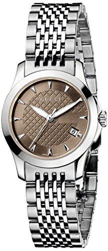 Gucci YA126503 - Reloj de Cuarzo para Mujer, con Correa de Acero Inoxidable, Color Plateado