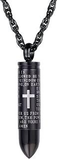 PROSTEEL Stainless Steel Bible Bullet Charm Necklace, Cross Bottle Locket Necklace, Perfume Bottle, Hair Locket, Ashes Urn Necklace, Men Women Memorial Keepsake Jewelry