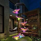 ALLOMN Carillón de Viento Solar, Luz de Decoración de Jardín RGB Multicolor Cambio Gradual, Seis Mariposa, Impermeable, Encendido/Apagado Automático Gran Regalo Para el día de San Valentín de Navidad