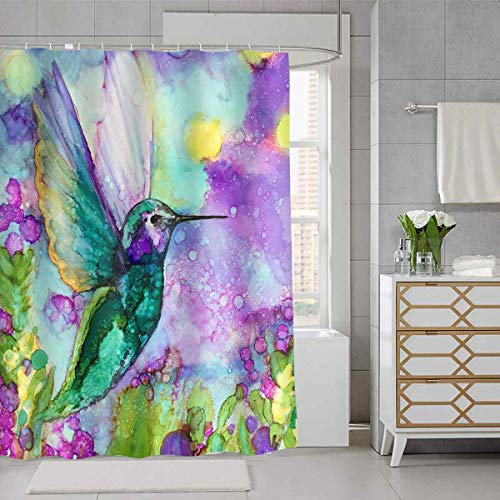 SDDSER Hummingbird Flower Shower Curtain Morning Glory Cactus Oil Painting Style Print Bathroom Curtain for Kids, Waterproof Fabric 72X72 with 12 Hooks YLDSSD120