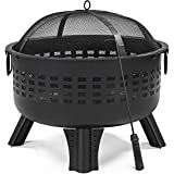 Topeakmart Fire Pit Fireplace Portable Firepit Iron Brazier Wood Burning Coal Pit Fire Bowl Stove with Spark Screen for Outside Camping Patio Garden Backyard 25in Black