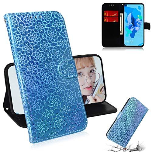 LENASH Para Huawei P20 Lite 2019 / Nova 5i Colorido Colorido Colorido Fuceta Magnética Horizontal Flip PU Caso de couro PU com suporte e carteira de cartão e carteira e cordão (azul). (Color : Blue)