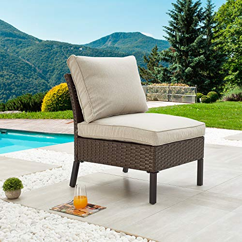 Festival Depot Outdoor Patio Non-Armrest Sofa Armless Chair with Cushions and Metal Frame Wicker Rattan Furniture for Garden Backyard Pool