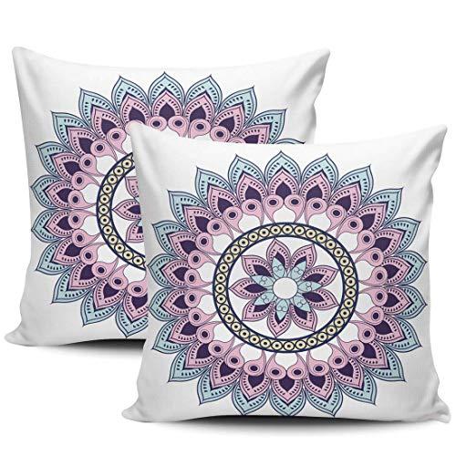 Mandala Fundas De Almohada Suave Funda De Almohada para Cojín Decorativa Almohada Cubierta para Cámping Oficina Sofá Juego De 2, 45x45 cm