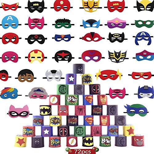 AlgaMarina 36 Pcs Máscaras de Superhéroe y 36 Pcs Pulseras de Superhéroe Máscaras de Fieltro para Cosplay de Superhéroe, Ideal para Fiesta de Cumpleaños o como Regalos a Niños