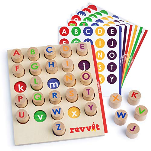 REVVIT Alphabet Matching - Wooden Pegs, Board and Cards - Letters, Colors, Fine Motor Skills. Preschool and Classroom Learning Activity Set (Includes 26 Pegs)