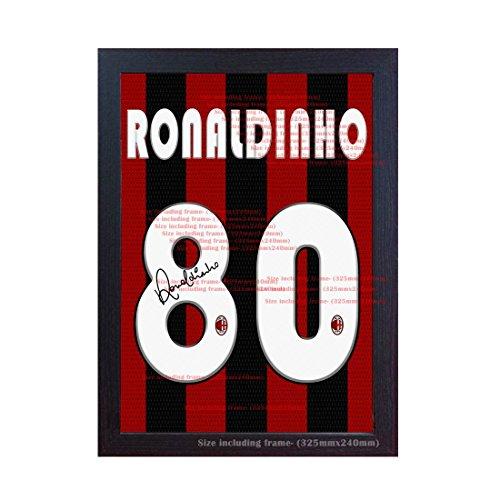 S&E DESING Ronaldinho Milan T Shirt Signed Autograph auf Leinwand gedruckt 100% Baumwolle gerahmt