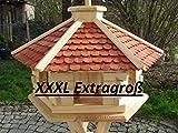 Maxi Vogelhaus XXXL g Vogelhäuschen Holz Futterhaus Futterhäuschen Vogel Pavillon Vogelvilla mit oder ohne 3 Bein-Ständer Sonderpreis Futterspender (Braun ohne Ständer)