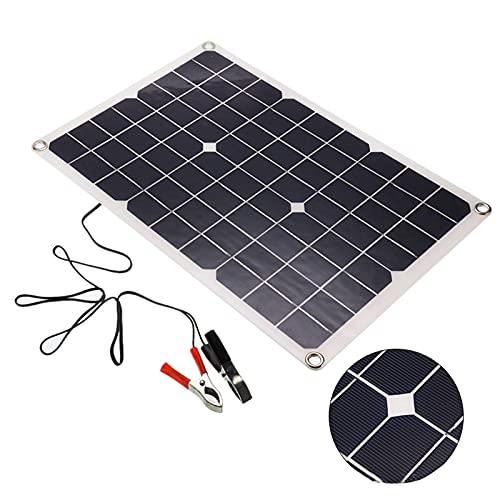sZeao 20W Kit De Panel Solar Flexible Cargador De Batería Monocristalino Célula Placa Solar Ligero Impermeable Fotovoltaico Módulo Cargador Batería para RV Barco Cabina Van Coche