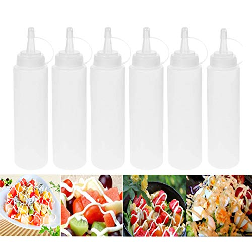 iWerDon 6 botellas de condimentos de 200 ml con tapones dispensadores de condimentos