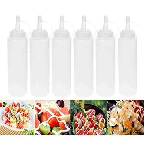 iWerDon 6 Stück Quetschflaschen mit Deckel zum Gewürzen, für Sauce, Ketchup, Grill, Dressing, Farbe und mehr (400 ml)
