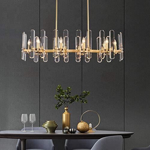 Crystal Light Lámpara Ambiente Lleno de Cobre escandinavo Moderno Estilo Minimalista Restaurante Lámparas for el Dormitorio Candelabros YFJFJ Tienda (Color : 8 Light)
