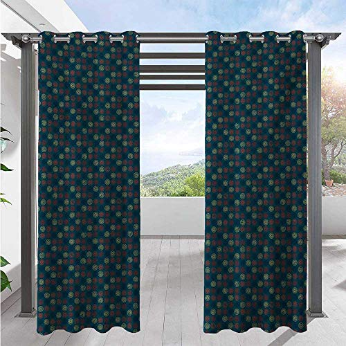Outdoor Waterproof Curtain Blue Toned Background with Warm Colored Bullseye Patterned Circles with Stars Uv Protectant Indoor Outdoor Curtain Give Your Patio An Upscale Resort Look W108 x L96 Inch