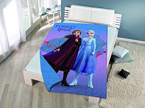 Colcha Primavera/Verano Estampada Frozen, Peppa Pig, Minnie, Spiderman para Cama de 90 (Frozen II)