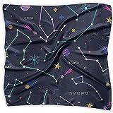 Uridy Pañuelo suave para el cuello Bufanda Mujer Pañuelo cuadrado Constelación estrellada Decoración de seda de poliéster Bufanda Bandanas Diadema