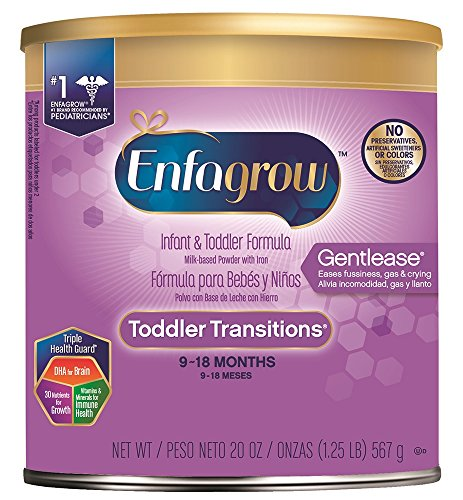 Enfagrow Toddler Transitions Gentlease Formula - Eases fussiness, gas & crying - Powder can, 20 oz