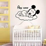 Personalisierte Babynamen Wandtattoo Schläfrig Vinyl Aufkleber Aufkleber Benutzerdefinierte Dekoration Schlafzimmer Kinderzimmer Babyzimmer Dekoration 57X36Cm
