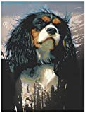5D DIY Diamond Painting Kits for Adults and Beginner Cavalier King Charles Spaniel Pet Dog Square Full Drill Embroidery Paintings Rhinestone Art for Home Wall Decor Gift-30x40cm