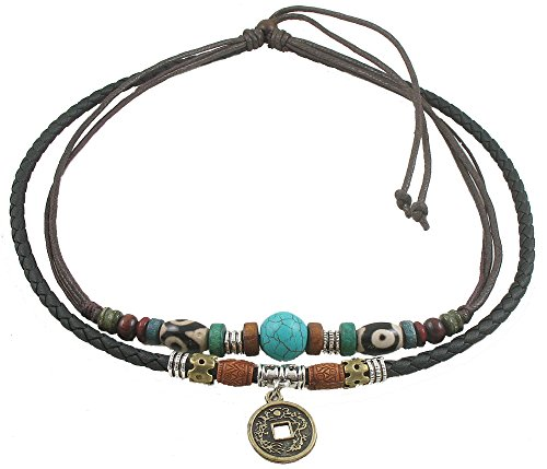 Ancient Tribe Unisex Adjustable Hemp Genuine Leather Necklace Choker Turquoise Bead (Black)