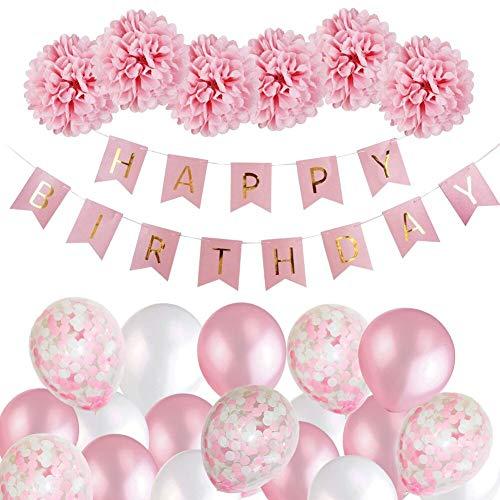 MMTX Geburtstagsdeko Mädchen,MMTX Happy Birthday Girlande Ballons Banner Set mit Geburtstag Dekoration,Seidenpapier Pompoms Rosa und Rosa...