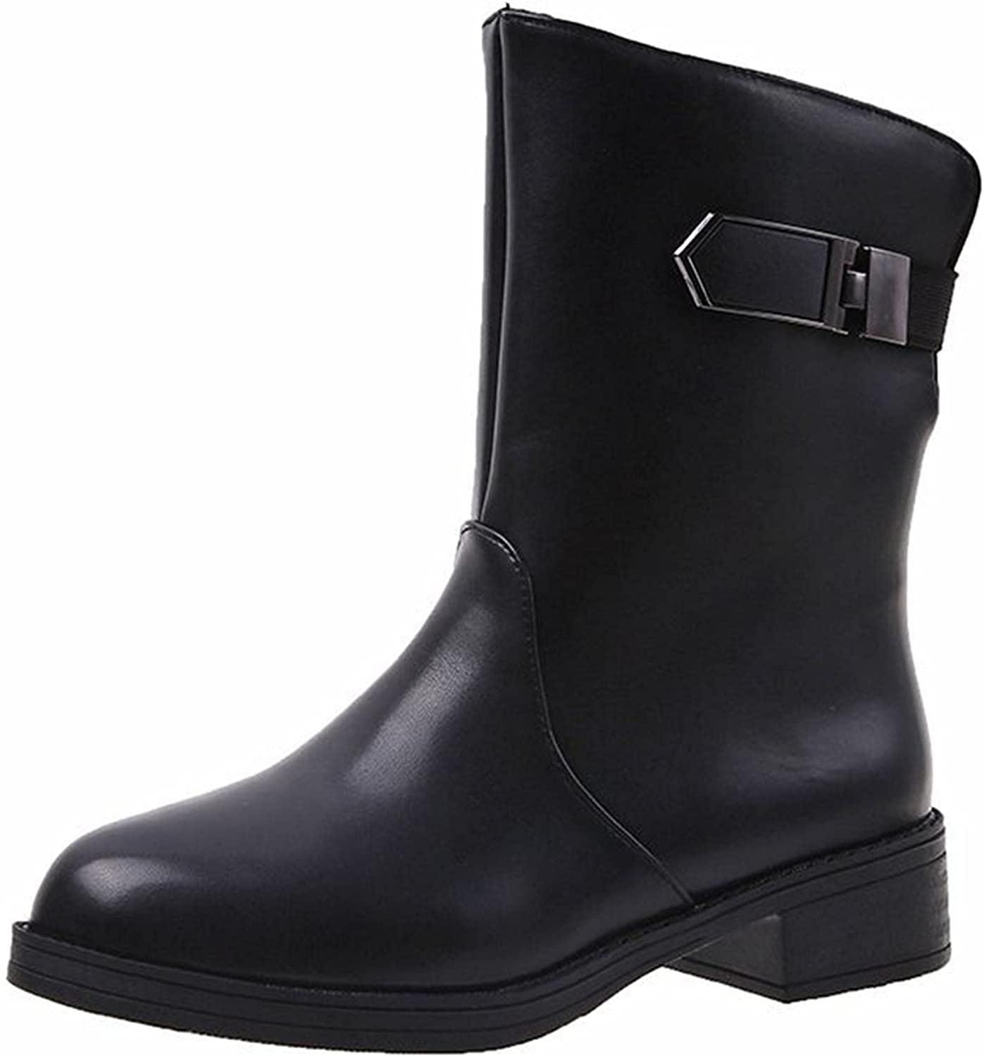 Winter Leather Shoes for Women,Fashion Women's Shoes Thick-soled Colorblock Brock Wedges Short Boots