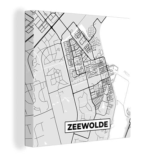 Canvas Schilderijen - Stadskaart - Zeewolde - Grijs - Wit - 90x90 cm - Wanddecoratie - canvas met 2cm dik frame