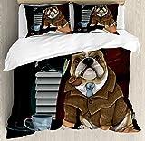 Inglés Bulldog de edredón por Ambesonne, tradicional Inglés Detective perro con un sombrero de tubo y Sherlock Holmes imagen, decorativo juego de cama con fundas de almohada, multicolor