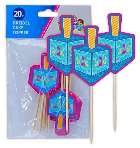 Hanukkah Dreidel Cake Toppers - Hanukkah Paper Goods - 20 Pack