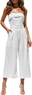 Women's Sexy Off Shoulder Wide Leg Jumpsuit Sleeveless Long Pants Romper
