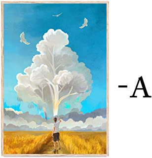 Posters Abstract Landscape Canvas Painting Dreamy Sky Sunset Lovers Oil Painting Nordic Wall Art Poster Pictures Bedroom H...