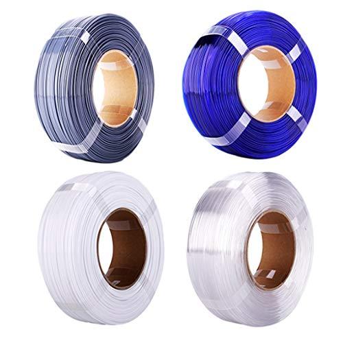 PETG Filament 1.75mm 3D Printer Filament PETG Anti-emmêlement de (Les 2.2lbs), Couleurs Gris, Bleu, Blanc et Naturel