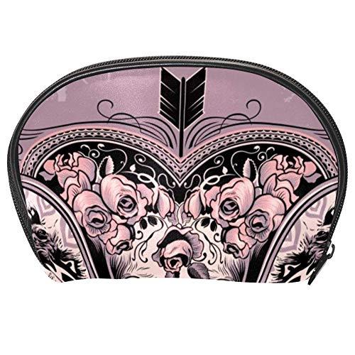 Bennigiry Trousse de toilette multifonction avec fermeture Éclair Motif crâne et cœur Mauve