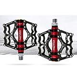VOANZO Pedales de Bicicleta, Pedales de Bicicleta Pedales de Bicicleta de montaña duraderos Antideslizantes de Aluminio, Pedales de Bicicleta MTB BMX (Negro + Rojo)
