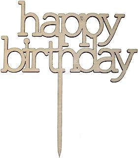 Miss Lovely Kuchen-Aufsatz Happy Birthday / Kuchen-Stecker / Torten-Aufsatz Echt-Holz / Geburtstag-sdeko / Kuchen-Dekoration / Torten-Figur / Cake-Topper Gebäck Geburtstags-Feier