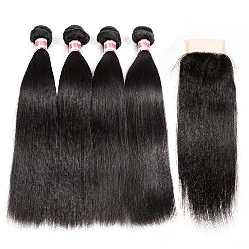 Hermosa Brazilian Straight Hair 4 Bundles with Closure 9A Virgin Unprocessed Human Hair Bundles with Closure Mink Brazilian Hair with Closure Free Part (22 24 26 28 with 20 closure)