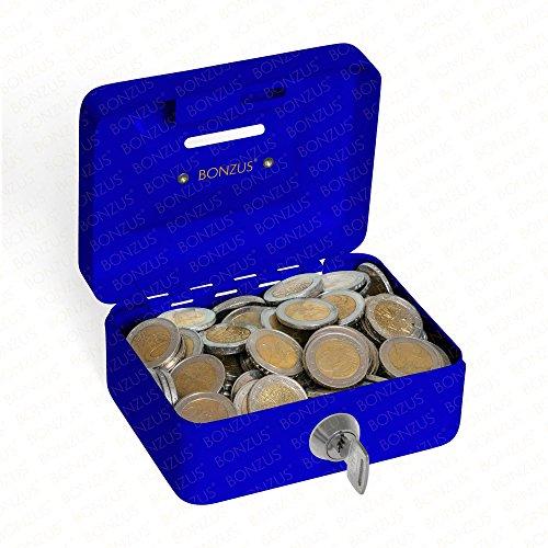 Minigeldkassette Sparkassette BZ-17 von Bonzus® Kleine Mini Geldkassette mit Einwurfschlitz Münzeinwurf (blau)