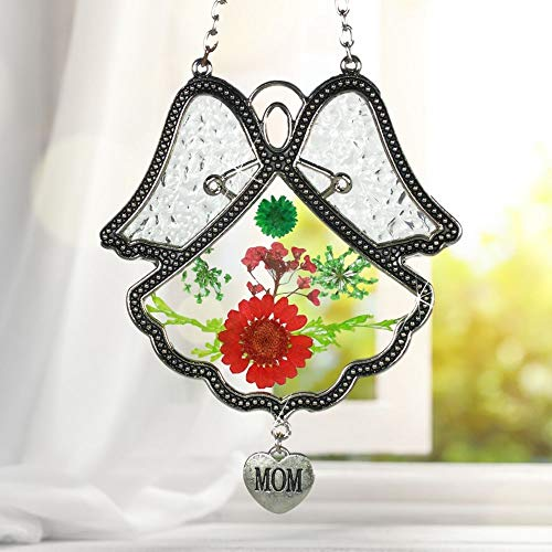 BANBERRY DESIGNS Angel Wings Mom Suncatcher - Dried and Pressed Flowers with Silver MOM Charm - Mother Sun Catcher for Window on Mothers Day