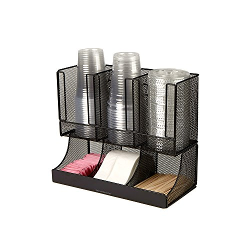 Mind Reader 6 Compartment Upright Breakroom Coffee Condiment and Cup Storage Organizer, Black Metal Mesh