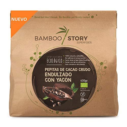 NUEVO - BAMBOO STORY Nibs/Puntas Cacao Crudo ENDULZADAS con Yacon Ecológico 400gr. - MUY SALUDABLE