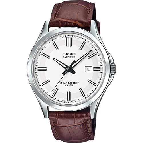CASIO Herren Analog Quarz Uhr mit Leder Armband MTS-100L-7AVEF