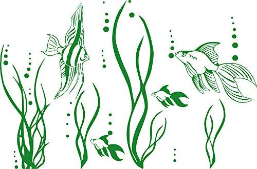 GRAZDesign Wandtattoo Fische im Ozean Aquarium Badezimmer-Aufkleber für Fliesen/Wände/Spiegel WC/Toilette (46x30cm / 062 hellgrün)