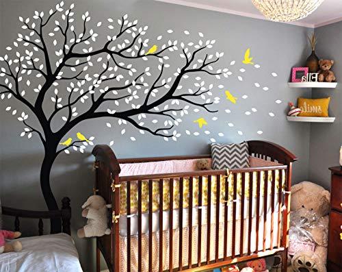 Groß baum wandtattoo kinderzimmer wandaufkleber wandsticker Baum im windschiefen wandbild 099 (Schwarz, Weiß, Gelb)