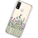Kompatibel mit Huawei P Smart 2020 Hülle Transparent Bunt Muster Handyhülle Ultra Dünn Blume TPU Silikon Case Durchschauen Schutzhülle Kratzfest Backcover Bumper Stoßfestigkeit Handy Tasche Klar