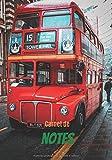 Carnet de notes: Carnet de notes ligné de 100 pages à la couverture d'un bus anglais - Format de 7 X 10 pouces - pour les amoureux du vintage.