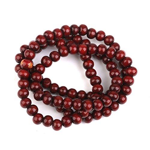 SODIAL(R) Rotes Sandelholz Gebetsperlen Holz Gebetskette 108 STK. Buddha Buddhistisch Mala Armbandkette Purpuraehnlich rot