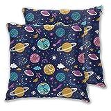 DECISAIYA 2 Funda De Almohada,Espacio Planetas Estrellas repetidas Constelación Luna Naturaleza Mundo Estrellado Diseño de la Tierra Cielo Asteroide Caída,Cojines para Camas Sillas Dormitorio