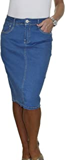 Stretch Denim Jeans Skirt Soft Wash Mid Blue 14-18