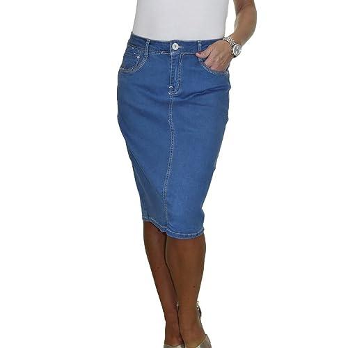 522ff6f12597 ICE Stretch Denim Jeans Skirt Soft Wash Mid Blue 12-22