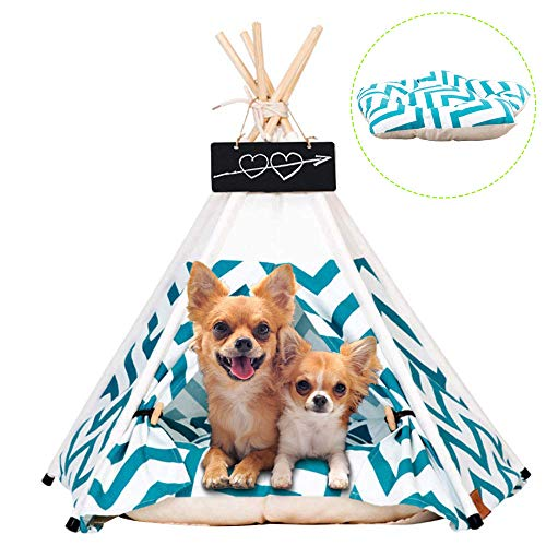 Arkmiido Pet Teepee House Cat Dog Tents Wood Canvas Fold Furniture Dog House,Green