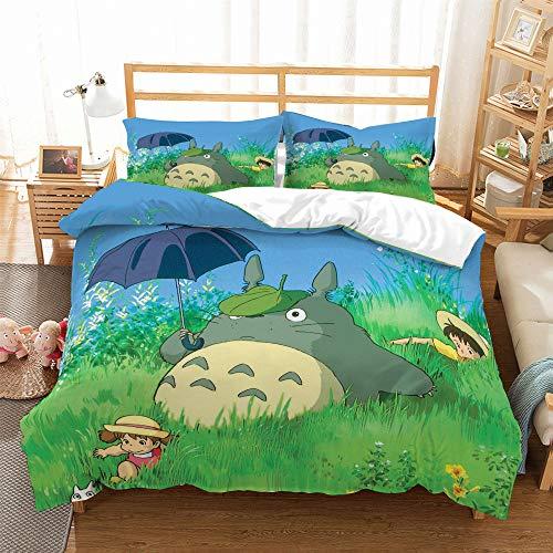 REALIN Copripiumino My Neighbor Totoro Totoro Set Biancheria Letto Animale del Fumetto Anime 2/3/4PCS Copripiumini/Lenzuola/Federe,Singolo,Matrimoniale,King (Singolo-140x210cm-3PCS,C)